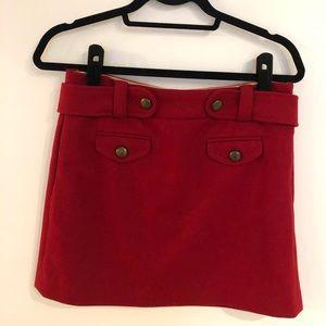 Red J.Crew Wool Skirt
